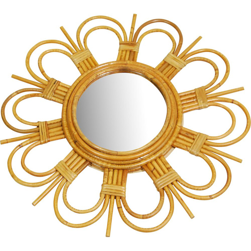 Vintage sun rattan mirror made in England 1970