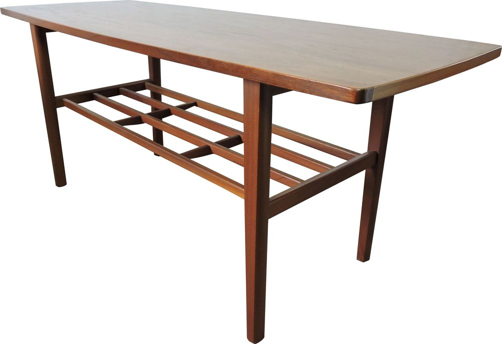 Vintage danish teak coffee table with lower shelf 1960s ...