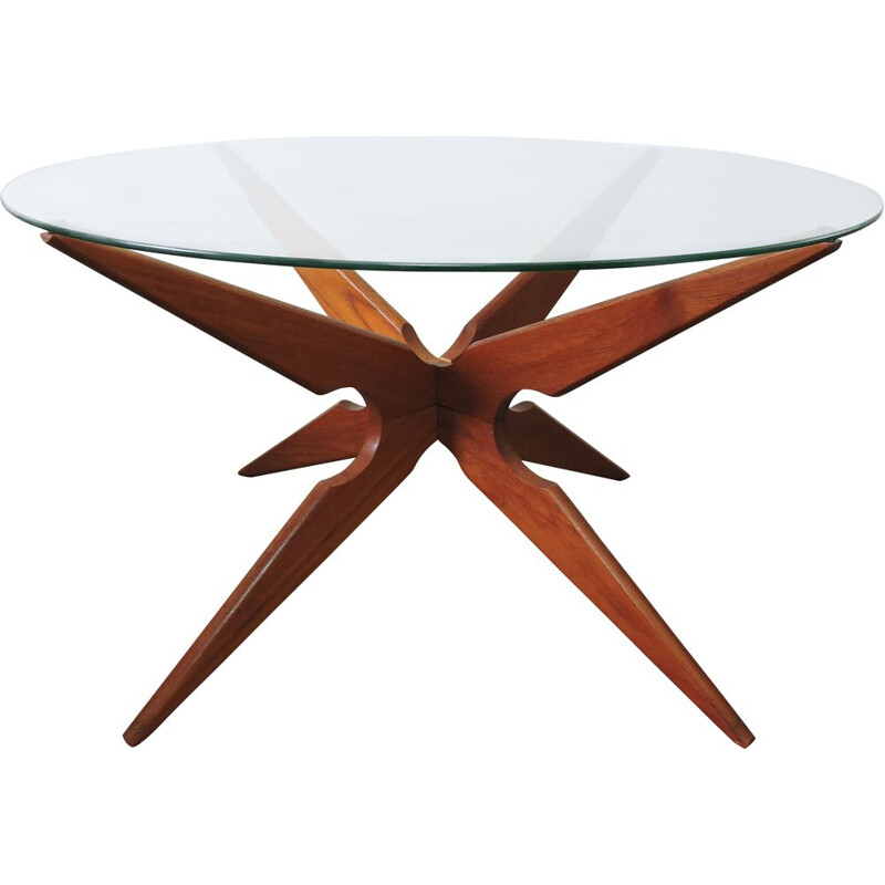 Vintage spider coffee table for Sika Mobler in teak and glass