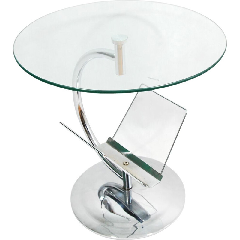Vintage german glass and steel coffee table for Kokoon 1980
