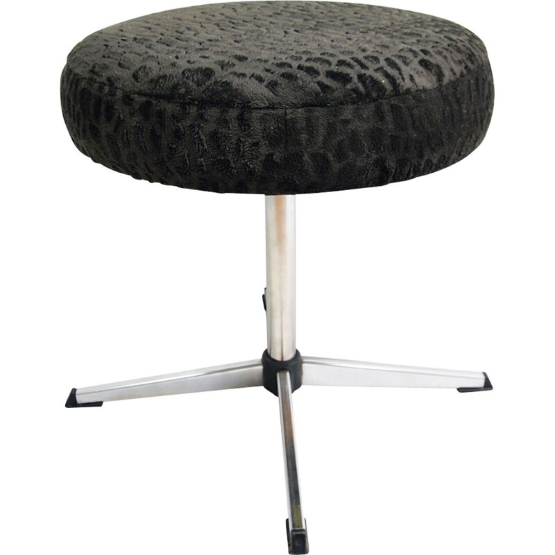 Vintage swivelling stool for VEB Naumberg in steel and black fabric 1970