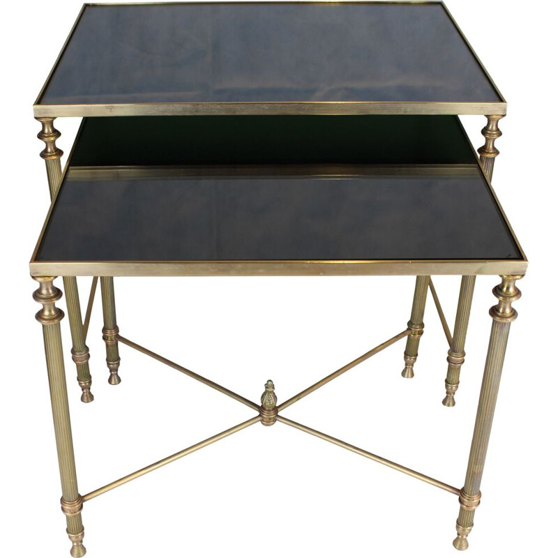 Two Maison Jansen Brass Nesting Tables