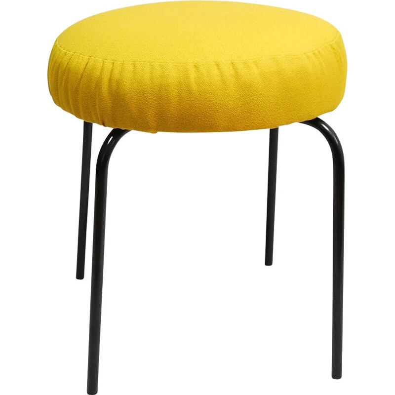 Upholstered stool in yellow fabric, Germany 1960s