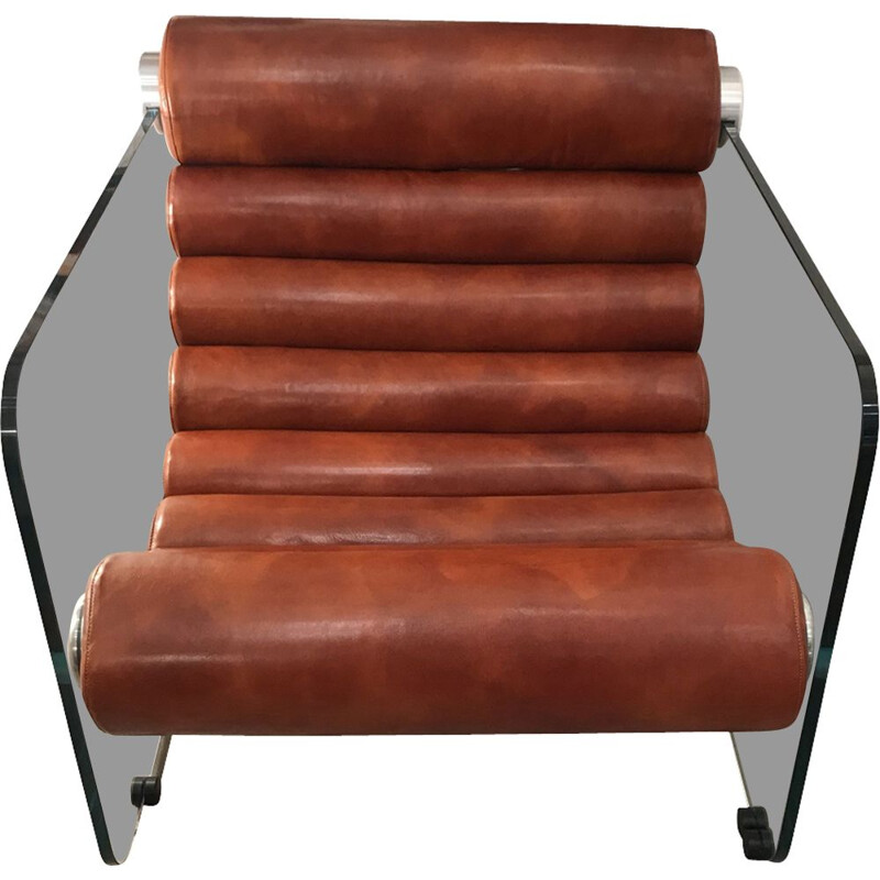 """Armchair """"hyaline"""" by Fabio Lenci, tawny leather and glass - Circa 1968"""