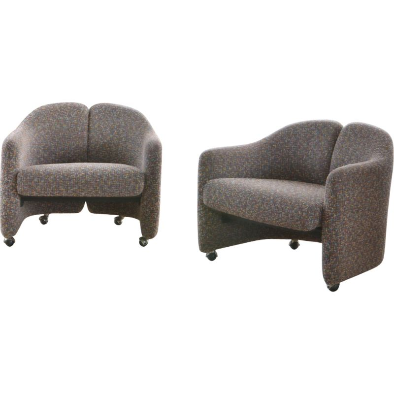 Set of 2 vintage PS142 armchairs for Tecno in gray wool and metal