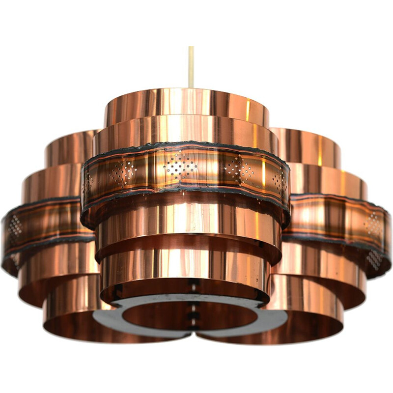 Vintage copper pendant light for Coronell Electro 1970
