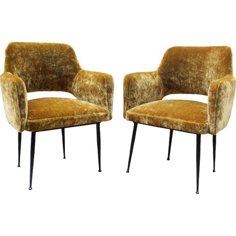 Pair of vintage italian armchairs in yellow velvet fabric and metal 1950