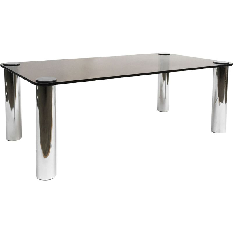 Vintage coffee table for Zanotta in chrome and smoked glass