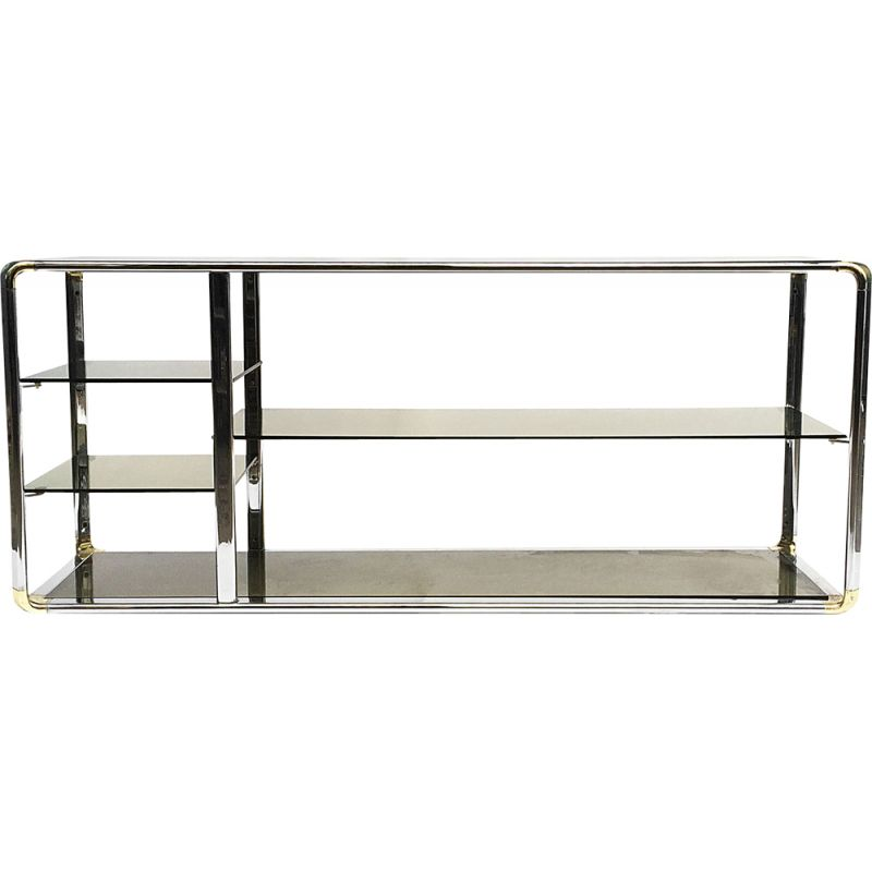 Vintage italian chrome and glass shelving system 1970