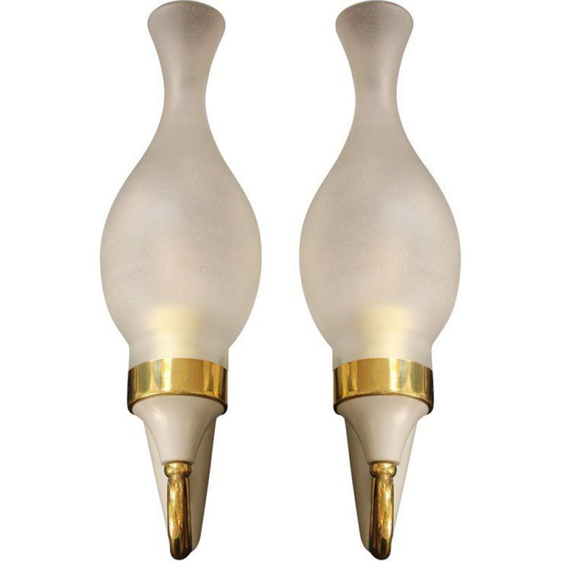 Set of 2 vintage italian wall lamps in brass and glass 1950
