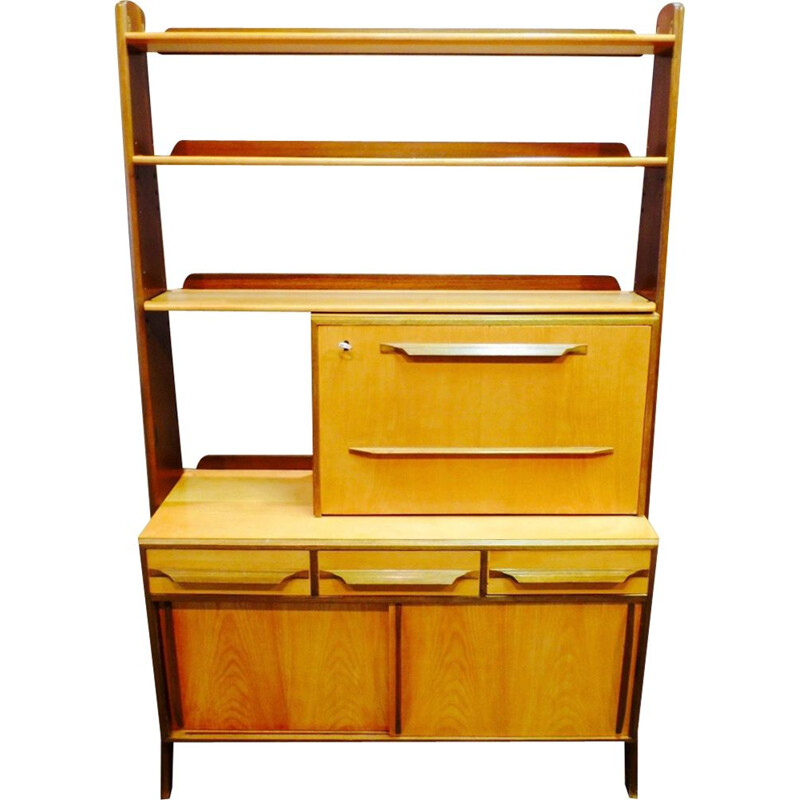 Vintage desk in brass and walnut and its shelf 1950