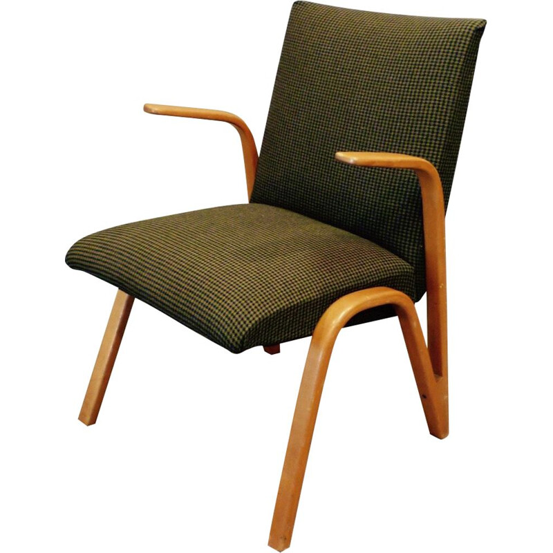 Vintage french armchair for Steiner in green fabric and ashwood 1950
