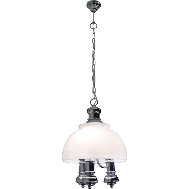 Vintage italian industrial style pendant in glass and metal 1970