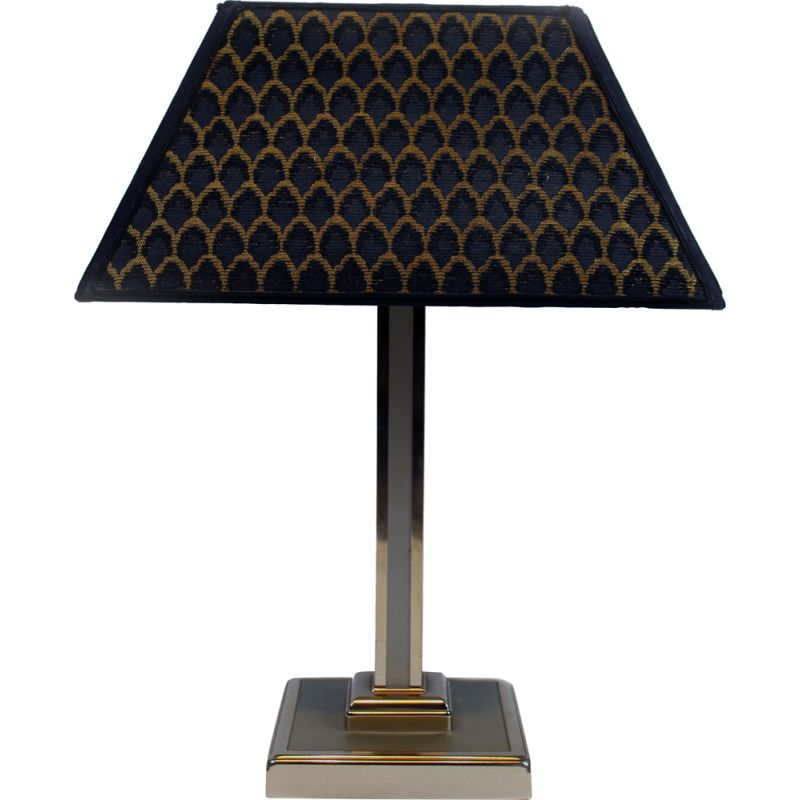 Vintage italian green table lamp with chromed base 1970s
