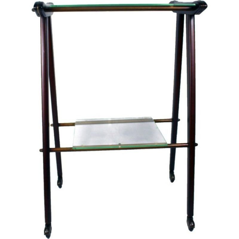 Vintage italian TV table in wood and glass 1950s