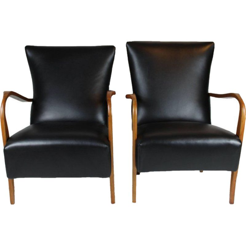 Pair of vintage italian armchairs in black leather 1950