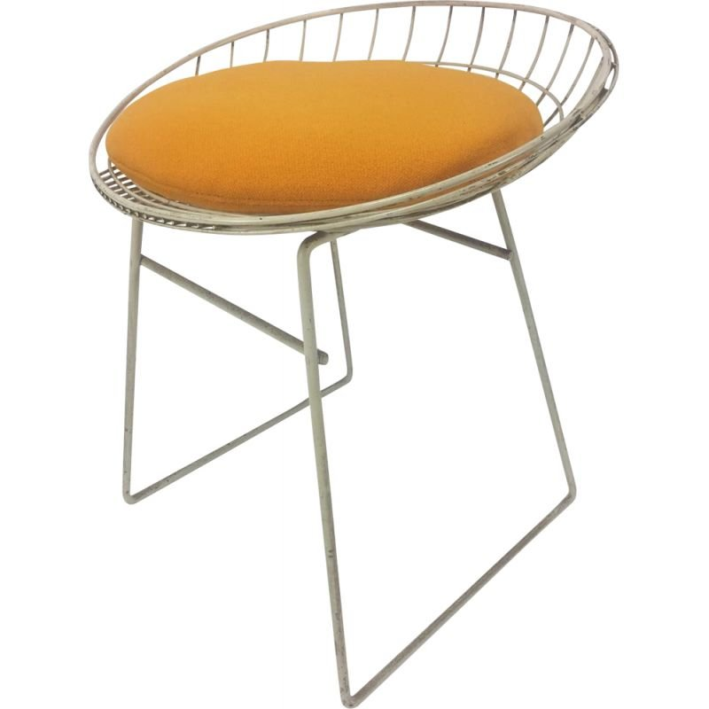 Vintage italian KM05 stool for Pastoe in white metal and yellow fabric