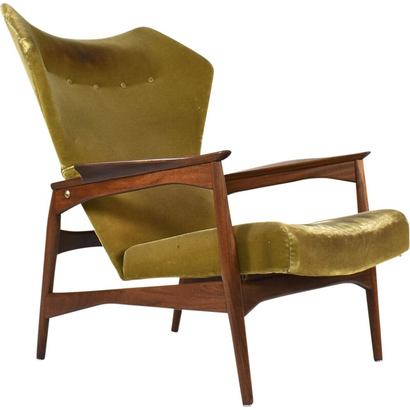 Vintage wingback armchair for Carlo Garhn in teak and green velvet 1960