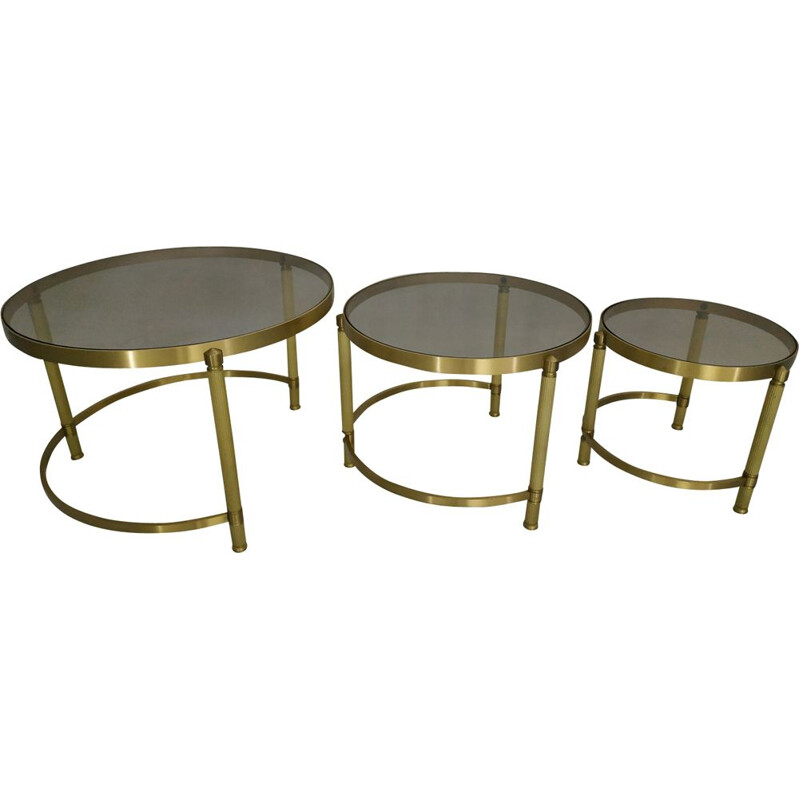 Set of 3 nesting tables in brass and glass