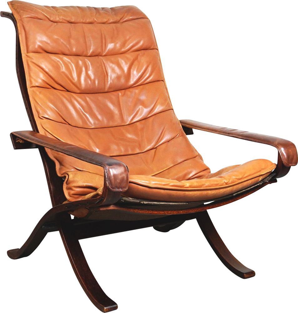 Vintage Siesta Armchair For Westnofa In Brown Leather And