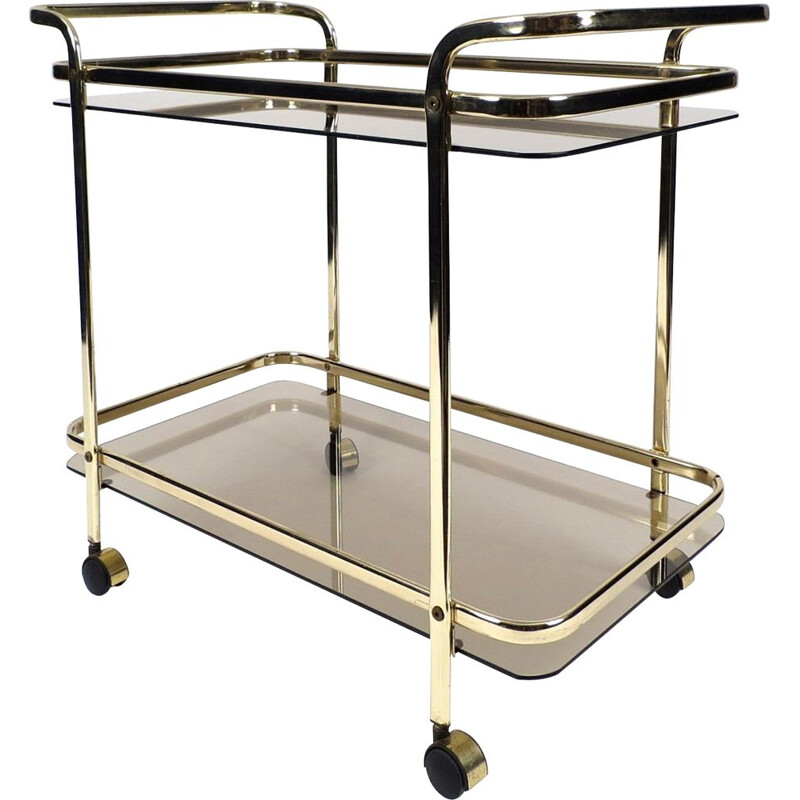 Vintage gilt metal and smoked glass serving trolley