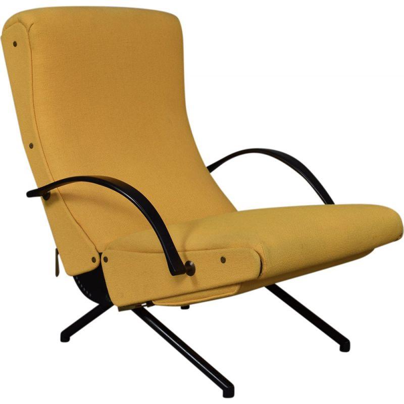 Vintage yellow lounge chair P40 by Tecno
