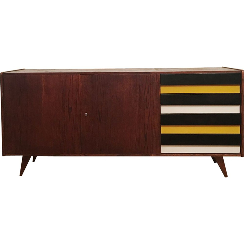 Vintage sideboard U 460 yellow and gray Jiri Jiroutek for Interier Praha