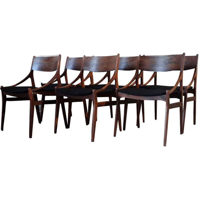 Set of 6 vintage rosewood chairs