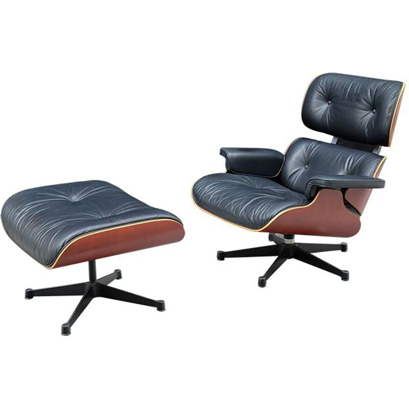Vintage chair and ottoman by Ray & Charles Eames for Vitra