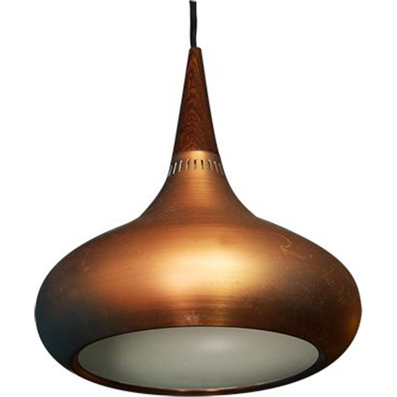 Vintage hanging lamp copper by Jo Hammerborg for Fog & Morup