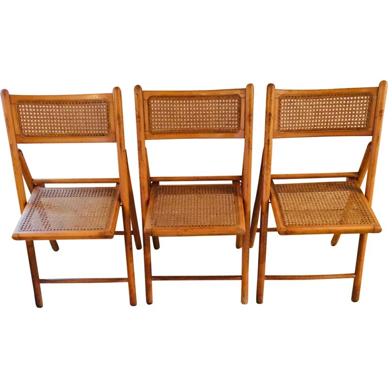 Set of 3 vintage folding chairs wood and caning