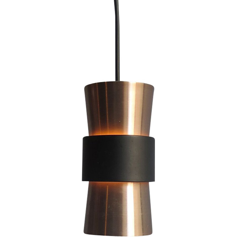 Vintage golden aluminium with black ring pendant lamp