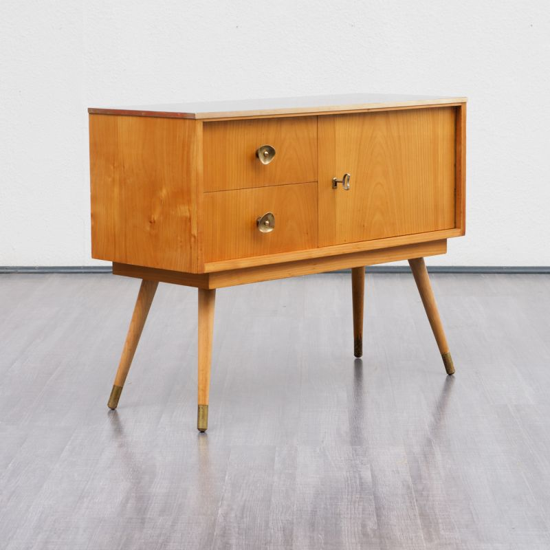 Vintage German Small Dresser In Cherrywood And Brass 1950 Design