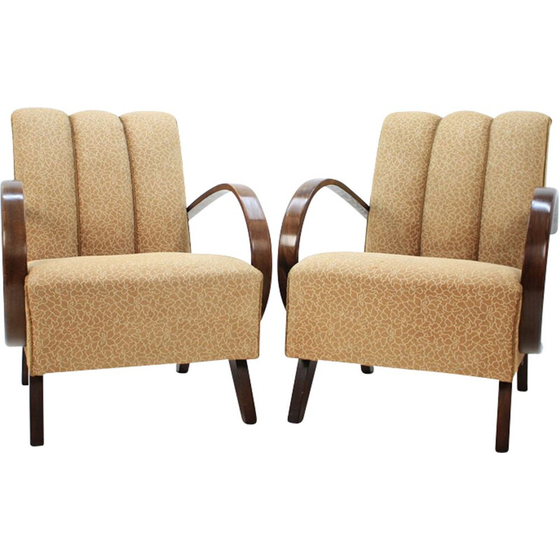 Set of 2 vintage armchairs by Jindřich Halabala in oakwood and fabric 1950