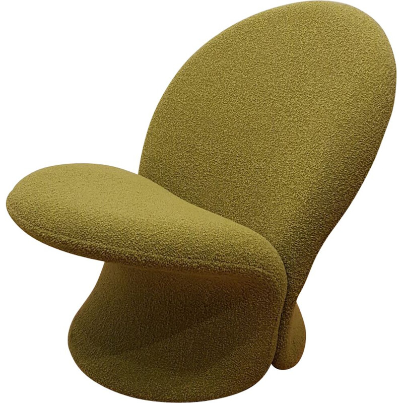 Vintage F572 armchair by Pierre Paulin for Artifort in green fabric and steel