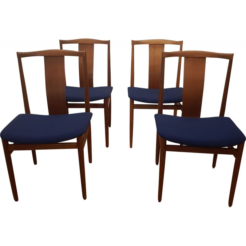 Set of 4 vintage chairs for Danex in teak and blue fabric 1960
