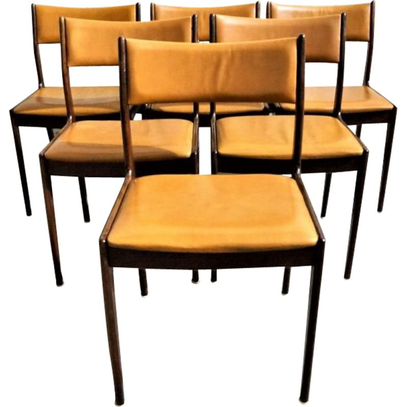 Set of 6 vintage chairs for Uldum in teak and yellow leather 1960