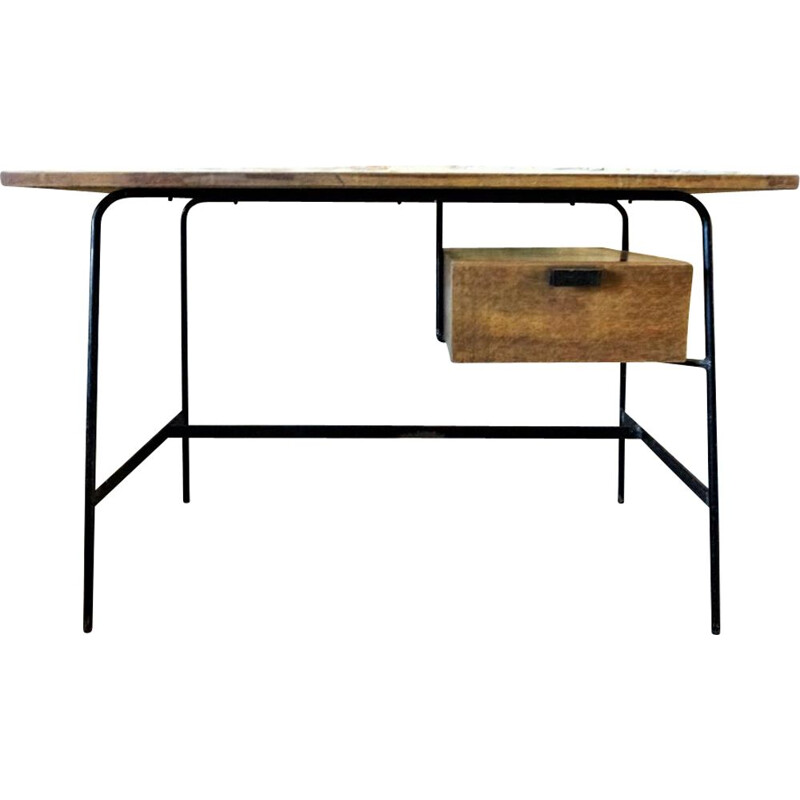 Vintage CM 178 desk by Pierre Paulin in oak and metal 1950