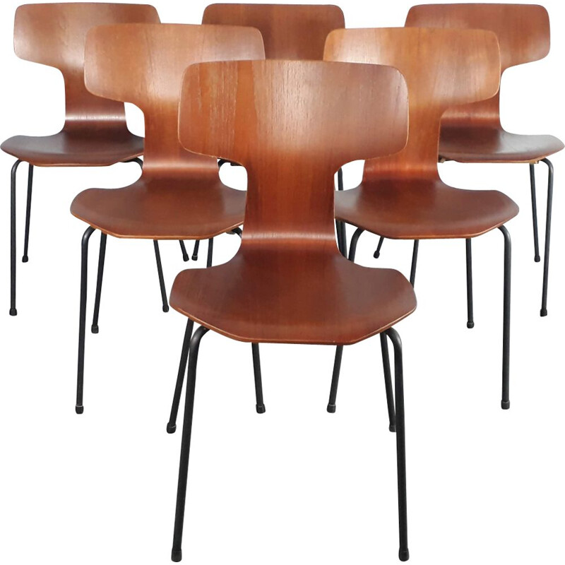 Set of 6 vintage Hammer 3103 chairs for Fritz Hansen in teak 1950