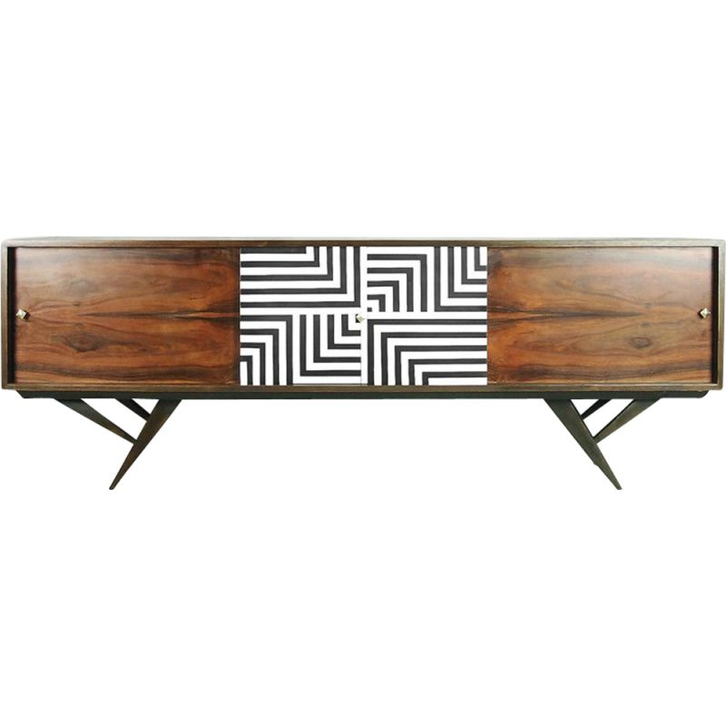 Vintage scandinavian rosewood and walnut sideboard with labyrinth patterns