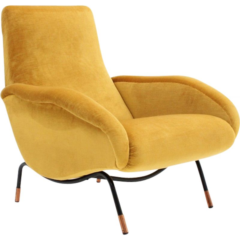 Vintage italian armchair in yellow velvet and copper 1950