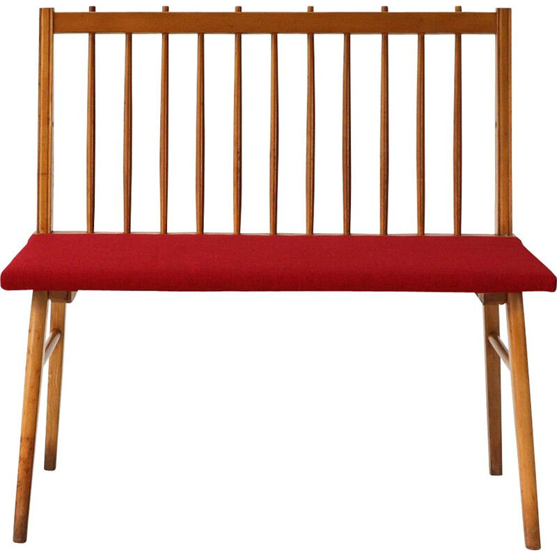 Vintage german bench in red fabric and beechwood for Musterring 1950
