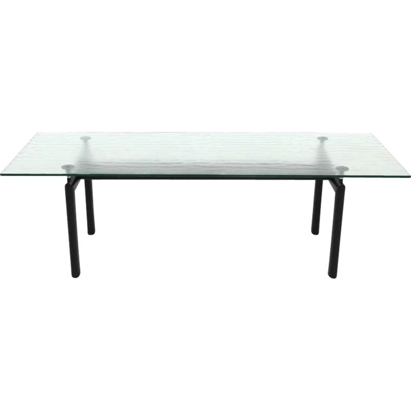 Vintage LC6 table for Cassina in glass and black metal 1980