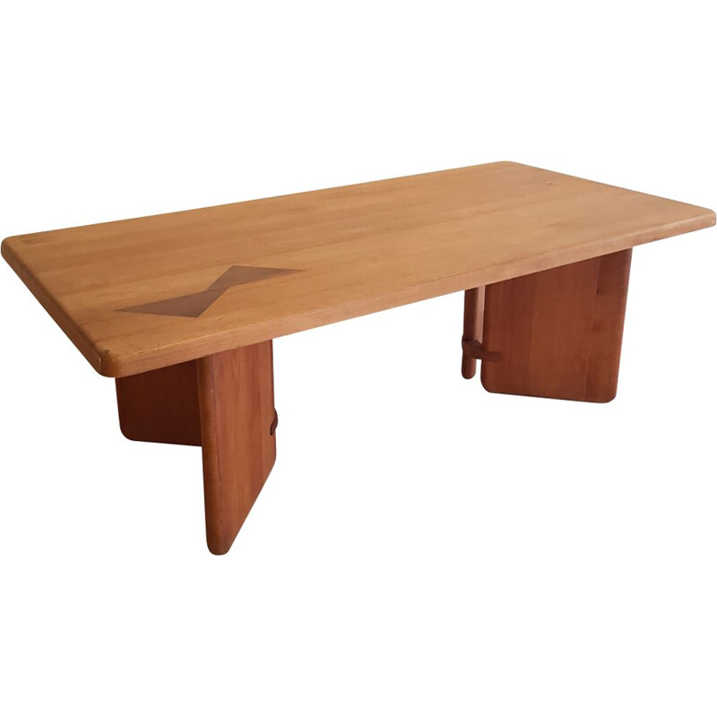 Vintage coffee table for Seltzer in elm and teak 1960