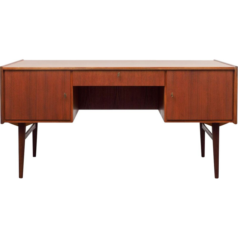 Vintage restored teak scandinavian desk 1960
