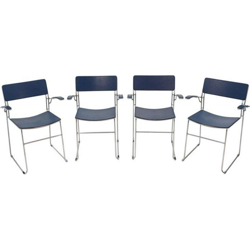 Set of 4 vintage Arrben chairs in dark blue leather 1980