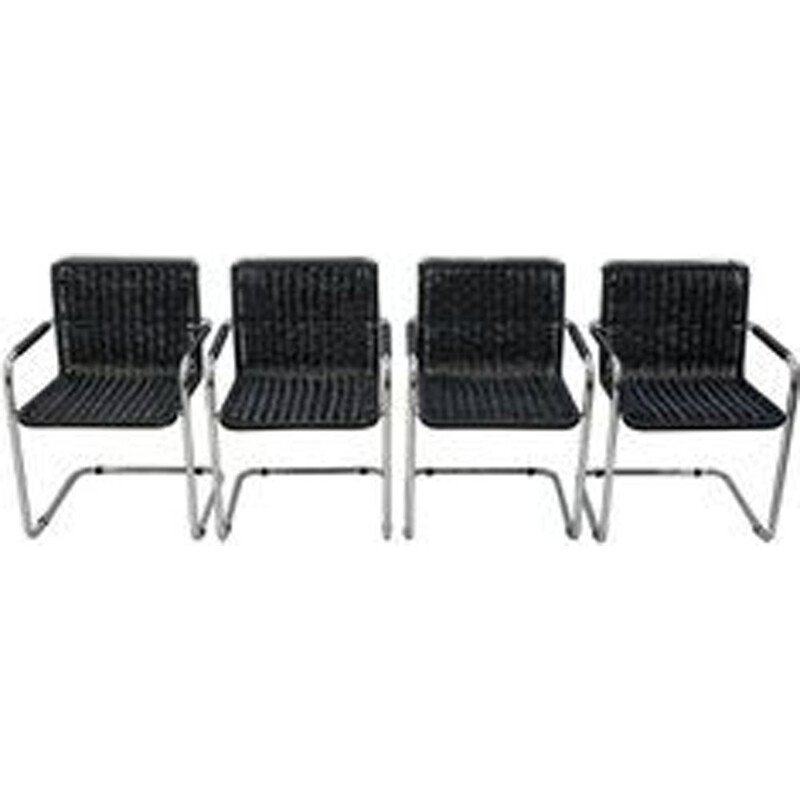 Set of 4 vintage black Mart Stam chairs for Fasem in aluminium 1970
