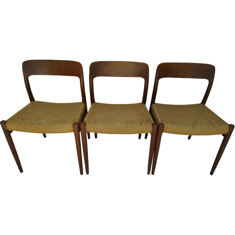 Set of 3 vintage scandinavian chairs by Moller in teak 1960