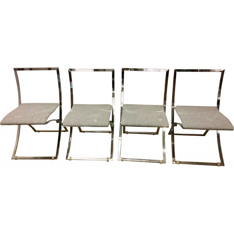 Set of 4 vintage chairs Luisa for Mobel in silvery fabric and steel
