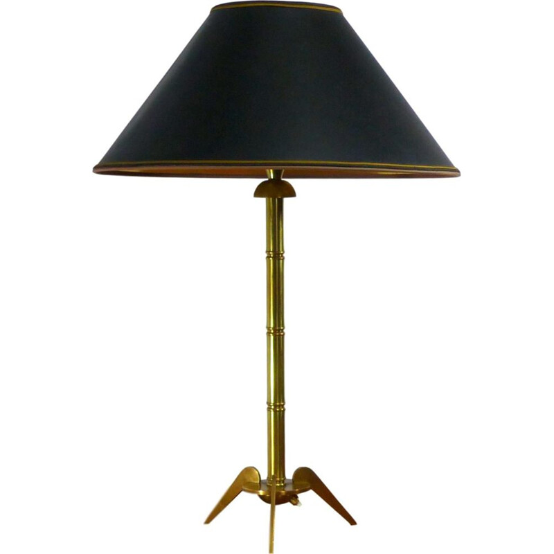 Vintage tripod table lamp in golden brass 1960